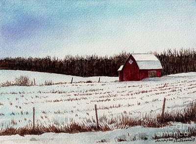 Painting - Tree Farm Barn In The Snow Number Two by Christopher Shellhammer