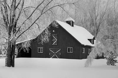 Barns In Snow Photograph - Barn In Winter  Iron Hill, Quebec by David Chapman