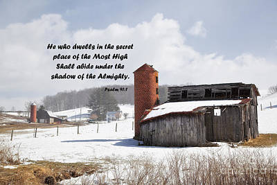 Barns Photograph - Barn In Winter With Psalm Scripture by Jill Lang