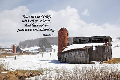 Scripture Photograph - Barn In Winter With Scripture by Jill Lang