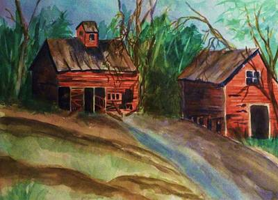 Painting - Barn - Old Dilapidated Red Barn by Ellen Levinson