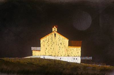 Art Print featuring the painting Barn On Black #3 by William Renzulli