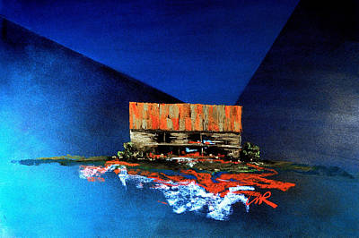 Art Print featuring the painting Barn On Blue by William Renzulli