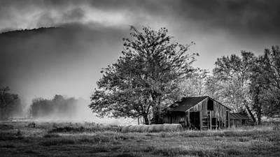 Barn On Foggy Morning In Monochrome Art Print by James Barber