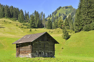 Little Cabin Photograph - Barn On Green Meadow In The Alps by Matthias Hauser