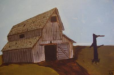 Barn On The Hill Art Print by Keith Nichols