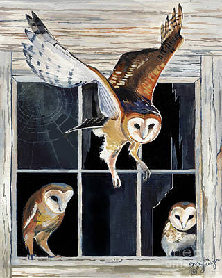 Painting - Barn Owl Family by Suzanne Schaefer
