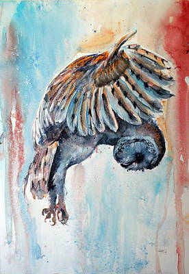 Wild Animals Painting - Barn Owl by Kovacs Anna Brigitta