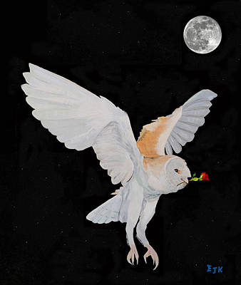 Mixed Media - Barn Owl With Rose by Eric Kempson