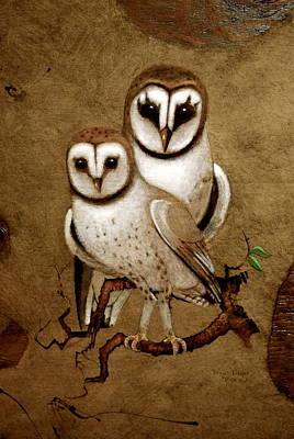 Painting - Barn Owls by Richard Hinger