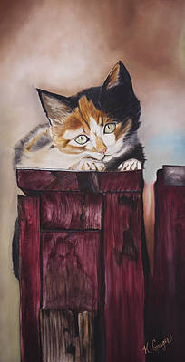 Pastel Barns Painting - Barn Post Kitten by Kellie Gouger