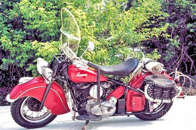 Photograph - Barn Red - 1948 Indian Chief Roadmaster by Classic Spokes And Strings