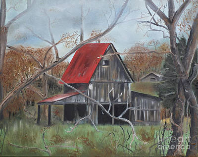 Rustic Barn Painting - Barn - Red Roof - Autumn by Jan Dappen