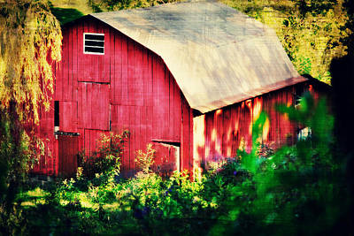 Barn Red Sunset Art Print by Chastity Hoff