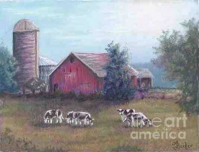 Pastel - Barn Scene Holsteins by Ann Becker