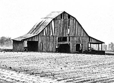 Photograph - Barn Sketch Effect II by Debbie Portwood