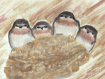 Baby Bird Painting - Barn Swallow Chicks by Conni Schaftenaar