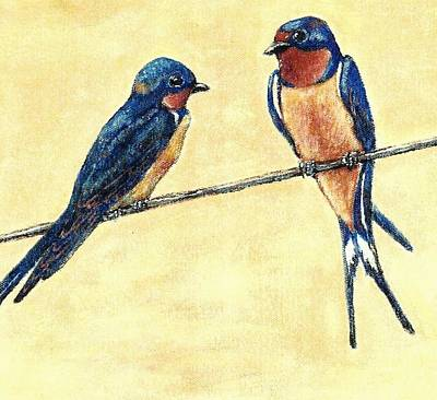 Painting - Barn-swallow Pair by VLee Watson