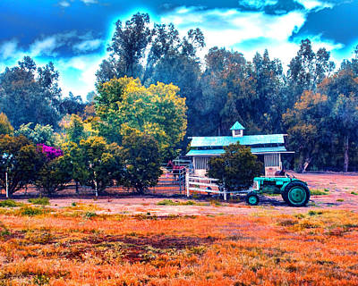Barn Tractor And A Horse Art Print
