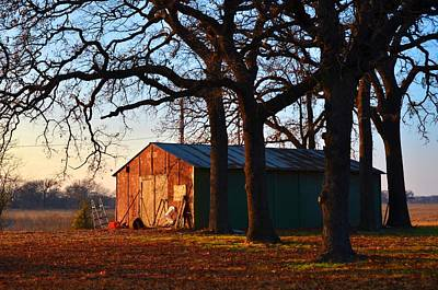 Barn Under Oak Trees Art Print