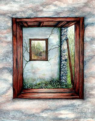Old Barn Painting - Barn Window Peering Through Time by Janine Riley