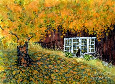 Painting - Barn Window Reflections by Janine Riley