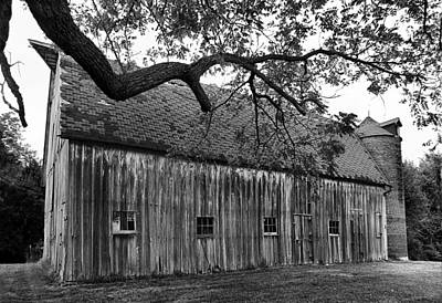 Barn With Brick Silo In Black And White Art Print by Julie Dant