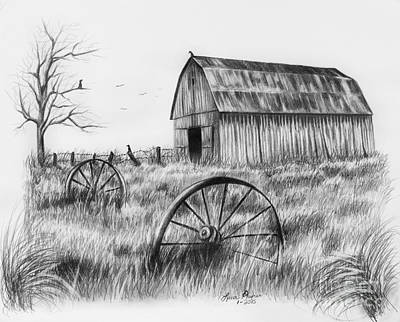 Crow Drawing - Barn With Crows by Lena Auxier