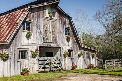 Flowers Photograph - Barn With Flowers by Terry Ellis