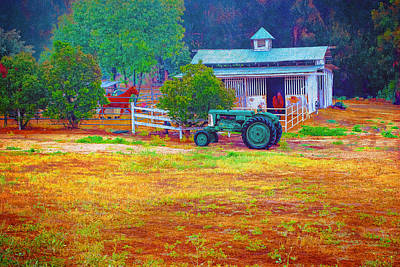 Photograph - Barn With Horses And Oliver Tractor by William Havle