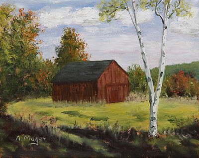 Painting - Barn With Lone Birch by Alan Mager