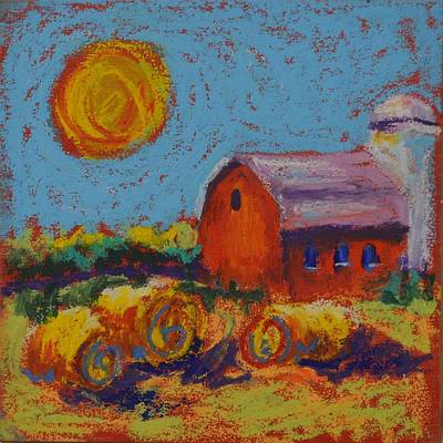 Pastel - Barn With Orange Sun by Pat Olson