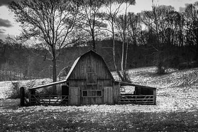 Photograph - Barn With Snow Bw by Ron Pate