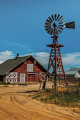 Country Scenes Photograph - Barn With Windmill by Paul Freidlund