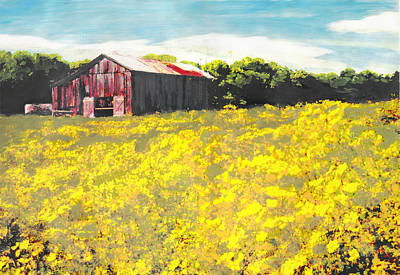 Painting - Barn Yellow Spring Fields Maryland Landscape Fine Art Painting by G Linsenmayer