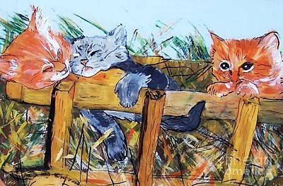 Art Print featuring the painting Barncats by Lucia Grilletto