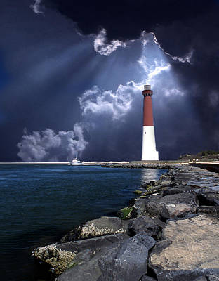 Thomas Kinkade Rights Managed Images - Barnegat Inlet Lighthouse Nj Royalty-Free Image by Skip Willits