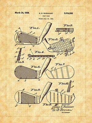 Photograph - Barnhart Golf Club 1936 Patent Art by Barry Jones