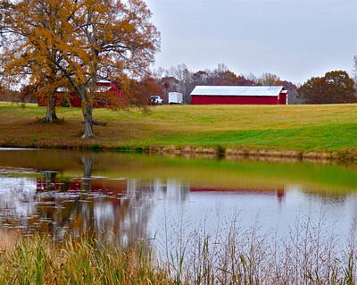 Photograph - Barns And Autumn Pond by Jean Wright