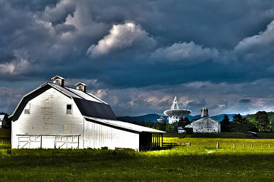 Photograph - Barns And Radio Telescopes by Daniel Houghton