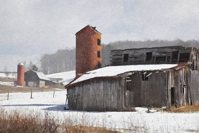 Photograph - Barns In Winter Oil Painting by Jill Lang