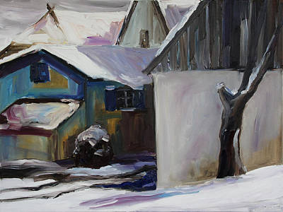 Barnstable With Blue Shutters In Winter Original by Barbara Pommerenke