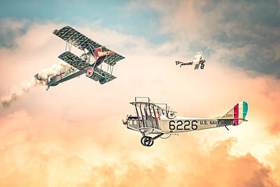 Historical Photograph - Barnstormers In The Golden Age Of Flight - Replica Fokker D Vll - Spad 7 - Curtiss Jenny Jn-4h by Gary Heller