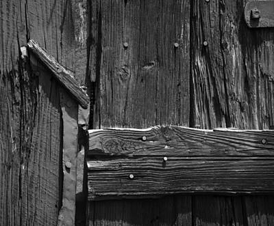 Photograph - Barnwood Abstract Black And White by Rebecca Sherman