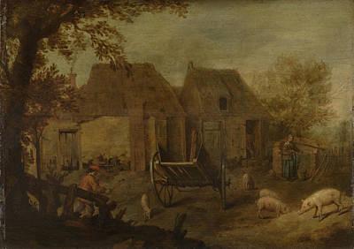 Barnyard Drawing - Barnyard, Anonymous by Litz Collection