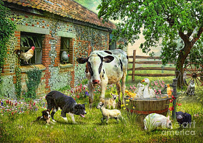 Puppy Digital Art - Barnyard Chatter by Trudi Simmonds