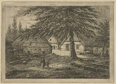 Barnyard Drawing - Barnyard, Gerardus Emaus De Micault by Gerardus Emaus De Micault