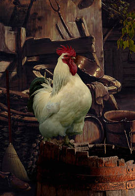 Barrel Painting - Barnyard Rooster by IM Spadecaller