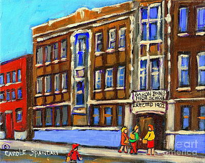 Montreal Memories Painting - Baron Byng High School 4251 St. Urbain Street Plateau Montreal City  Scene Carole Spandau Montreal A by Carole Spandau