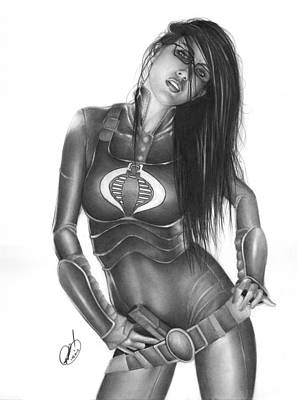 Cobra Drawing - Baroness by Pete Tapang